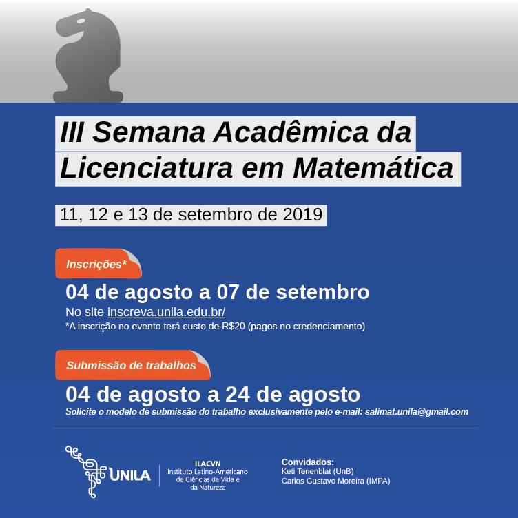 3ª Semana Acadêmica da Licenciatura em Matemática
