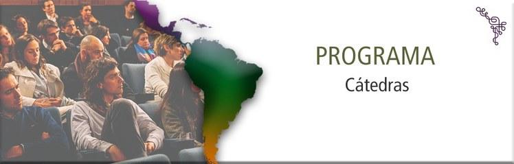 Imagem de um mapa da América do Sul, alusão a um auditório, e o nome do Programa de Cátedras