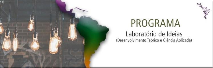 Imagem com um mapa da América do Sul, lâmpadas e o nome do projeto do Laboratório de Ideias