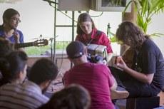 Estudantes do curso de música em apresentação