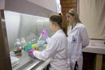 Aluna Loise Rissini Kramer (esquerda) estuda a funcionalização da nanocelulose incorporada com resíduo de carvão mineral
