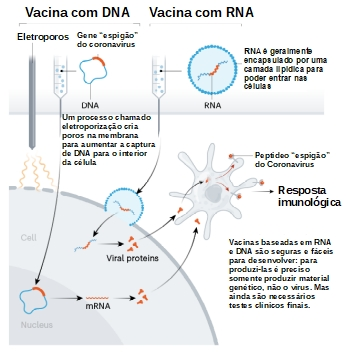 Vacina com DNA e RNA - Figura adaptada de Callaway E. The race for coronavirus vaccines: a graphical guide. Nature 2020;580:576–7