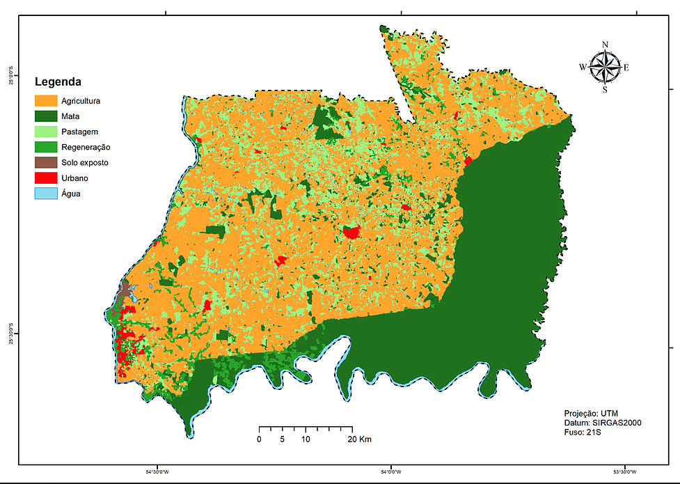 Mapa do uso das terras, de 1980