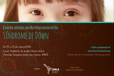 Cartaz com informações sobre o evento mostra olhos de criança com a Síndrome de Down