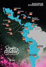Distribuição por países dos inscritos no processo seletivo internacional - Argentina: 46, Bolívia: 22, Chile: 61, Colômbia: 470, Costa Rica: 23, Cuba: 37, El Salvador: 35, Equador: 32, Guatemala: 30, Haiti: 166, Honduras: 68, México: 12, Nicarágua: 19, Panamá: 9, Paraguai: 187, Peru: 122, República Dominicana: 5, Venezuela: 76, total: 1420.