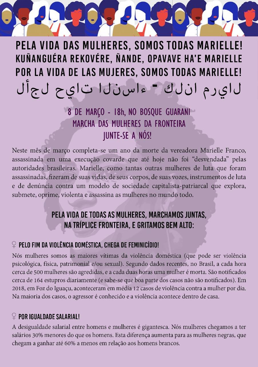 folheto com a programação da marcha das mulheres