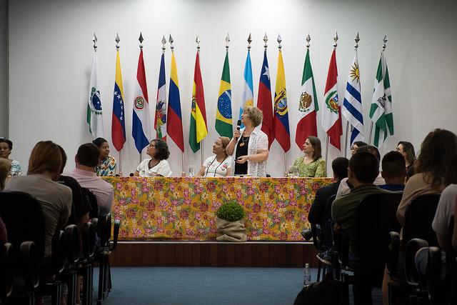 Palestra com a socióloga Moema Viezzer, atividade de recepção aos calouros 2018