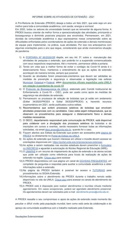 Comunicado Extensão | Covid-19