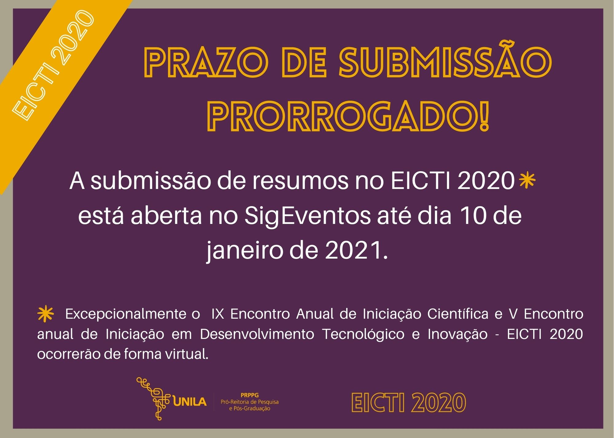 Prorrogação se submissão de resumos_EICTI2020