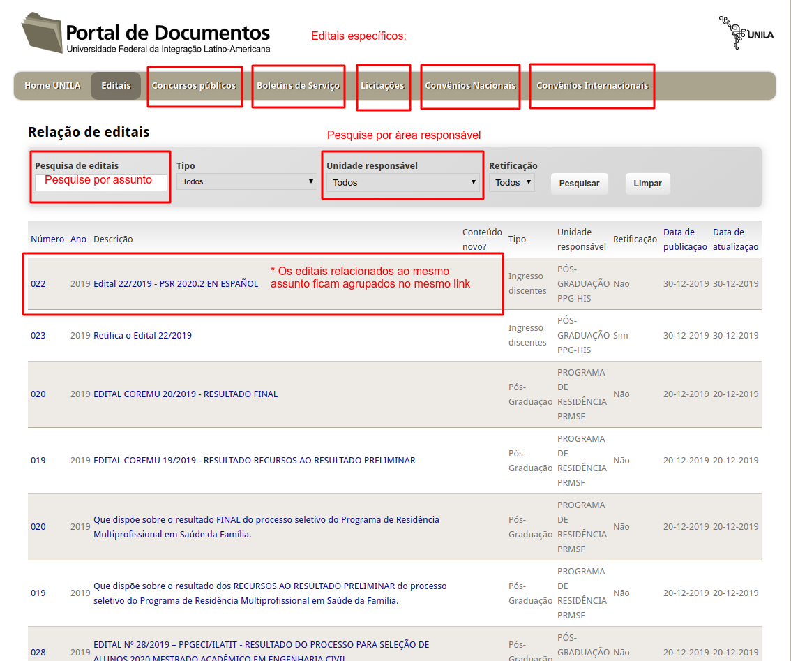 Descritivo de como usar o Portal de Documentos